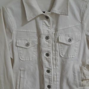 Saint John's Bay White Denim Jacket
